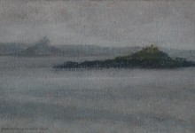Plein air oil painting of St Michael's Mount and St Clement's Isle, in the rain.