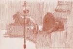 Sanguine oil drawing from Trafalgar Square