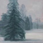 Oil study on canvas board of a winter scene with pine trees