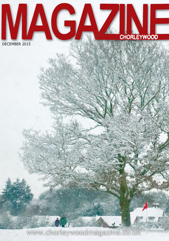 December cover of Chorleywood Magazine featuring a mixed media image by Mark Taylor.