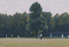 Finished painting of cricket on Chorleywood common