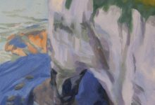Oil on paper study of Flamborough cliffs