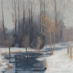 oil painting of scene from the chess valley in winter