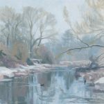 Oil on canvas panel painting of the river chess in winter