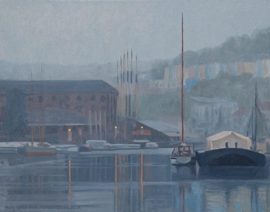 Oil on gesso panel, Bristol floating harbour