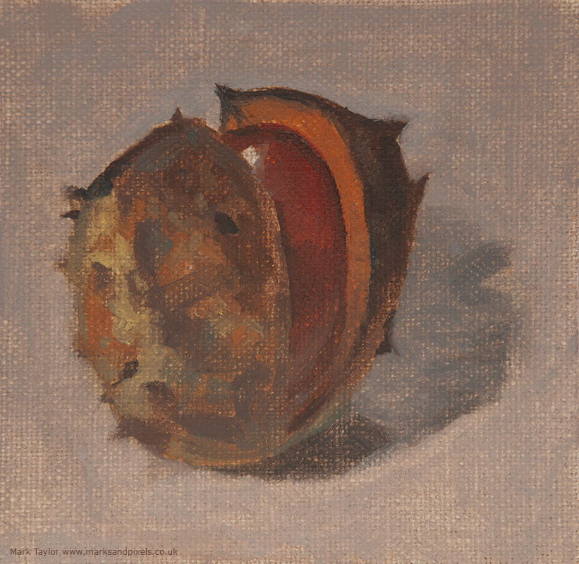 Painting conkers in Autumn