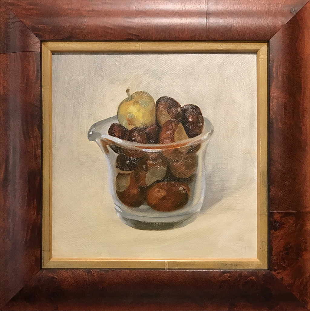 still life painting crab apple and conkers