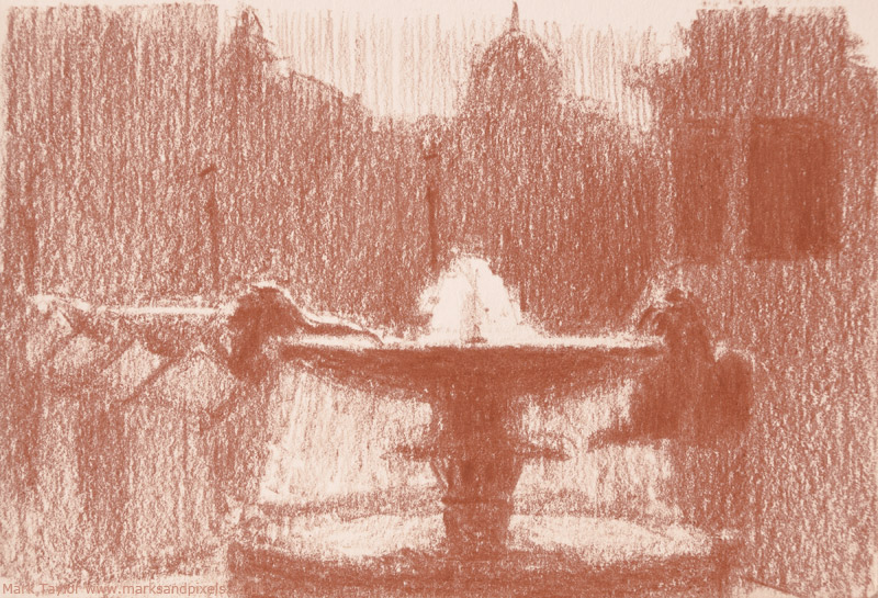 Sanguine drawings Trafalgar Square fountain