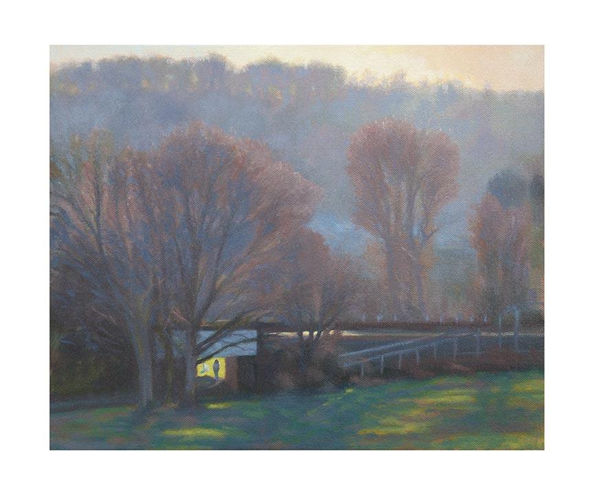 evening light effect Chorleywood common print