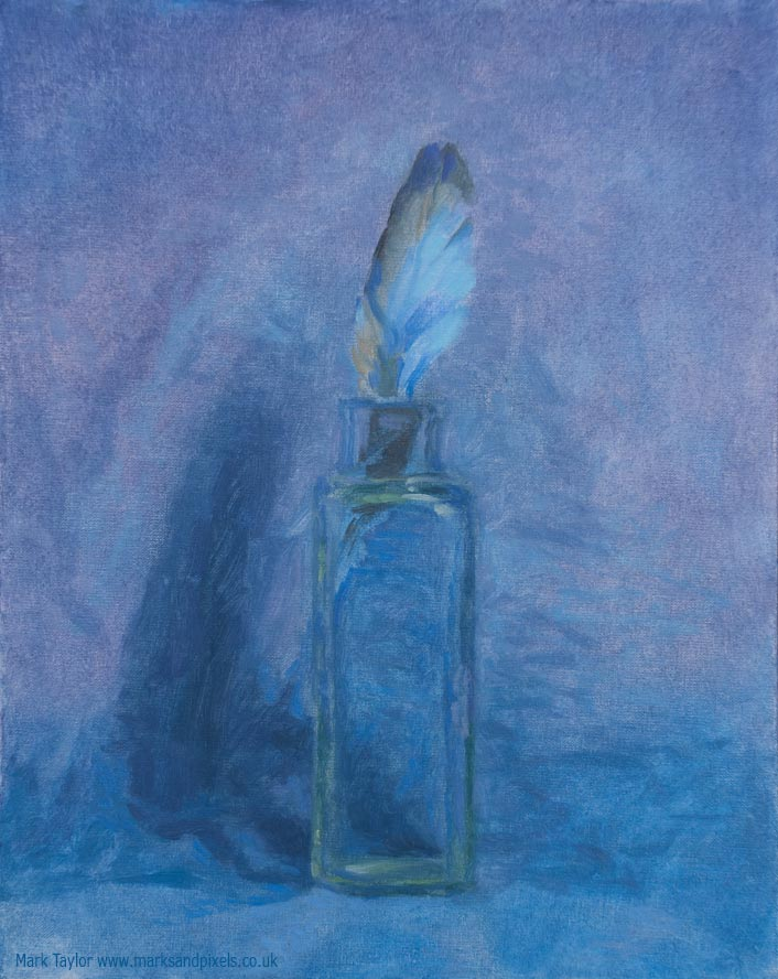 Still life paintings UK Blue glass feather