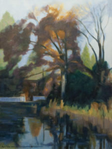 Chorleywood common oil painting Autumn evening