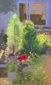 plein air garden oil painting