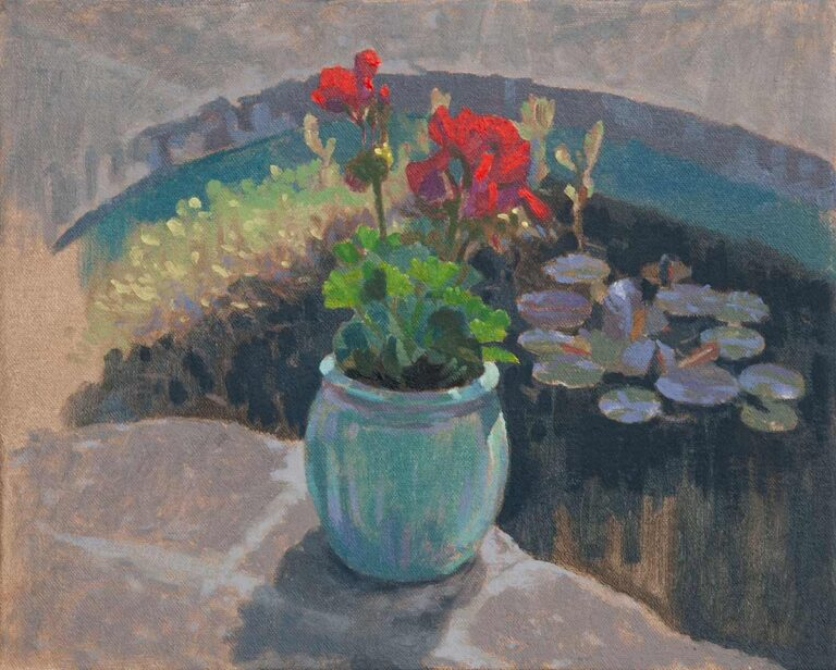 Plein air oil painting of geraniums by the pond