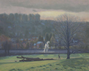 Chorleywood oil painting Winter evening