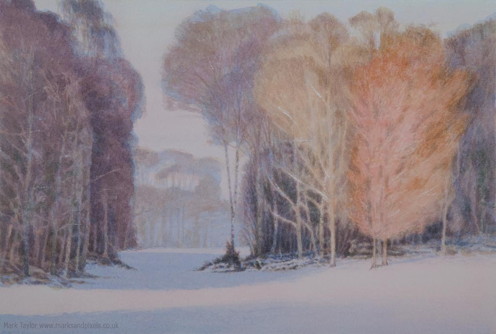 Winter light watercolour landscape painting