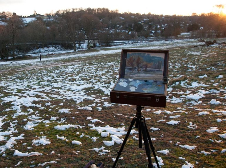 Chorleywood common snow painting