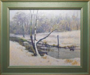 River Chess January oil on canvas panel framed