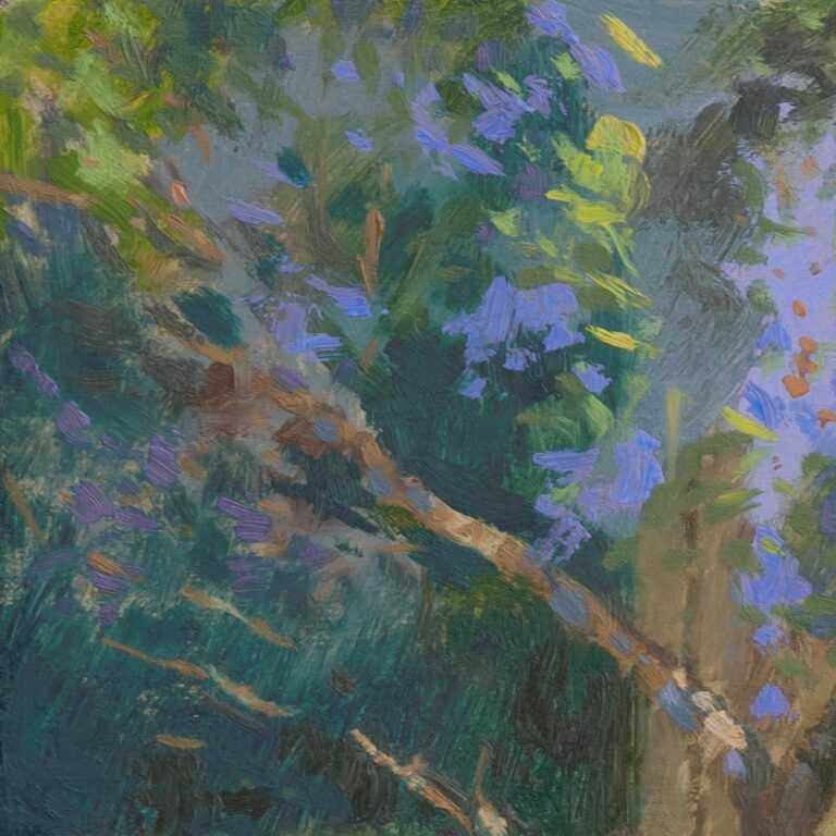 Sunlit california lilac and grapevine painted from the garden