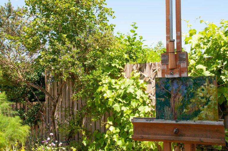 in situ painting California Lilac and grapevine