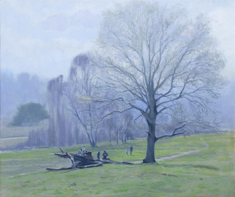 oil painting of spring morning light on the common