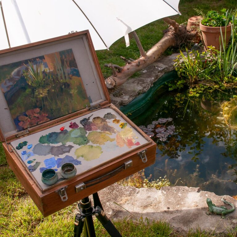 oil painting study of the garden pond