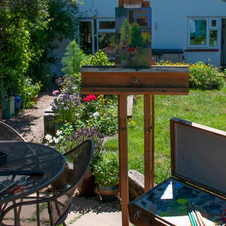 Painting setup in the herb garden