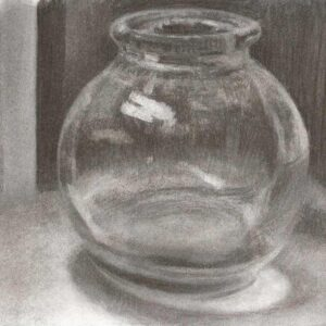 charcoal drawing glass jar