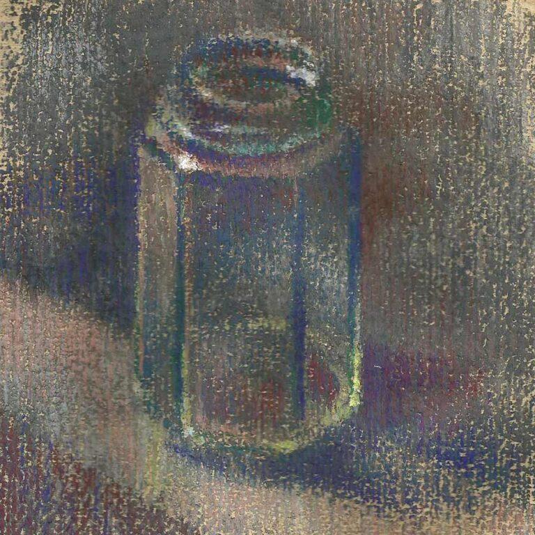 still life pastel drawing glass jar