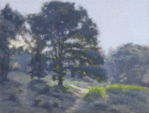 First light on Chorleywood common oil painting