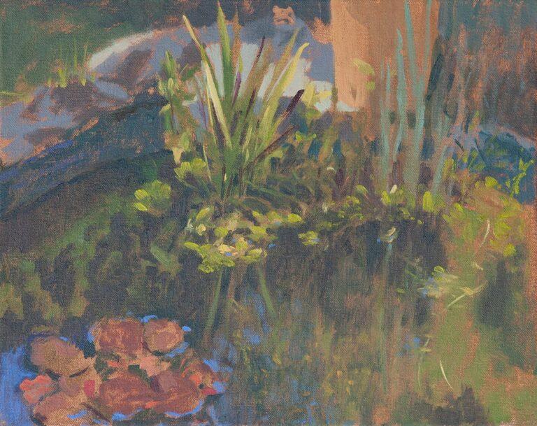 oil on canvas panel study of garden pond