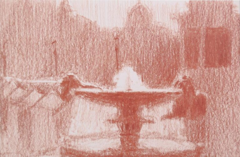sanguine drawing of trafalgar square fountain and lions